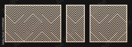 Fototapeta Laser cut panel set. Vector template with abstract geometric pattern, lines, stripes, chevron. Decorative stencil for laser cutting of wood, metal, plastic, decor element. Aspect ratio 3:2, 1:2, 1:1 obraz