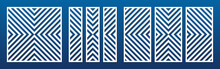 Laser Cut Panel Set. Vector Template With Abstract Geometric Pattern, Diagonal Lines, Stripes. Decorative Stencil For Laser Cutting Of Wood, Metal, Engraving, Fretwork. Aspect Ratio 1:1, 1:2, 1:4