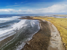 Aerial View On Strandhill Beach And Atlantic Ocean Waves, Cloudy Blue Sky. Nobody, Tide Coming In.