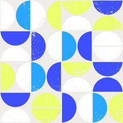 Fototapeta Wzory geometryczne Colorful geometric seamless pattern in Scandinavian style. Modern abstract background with semicircles.