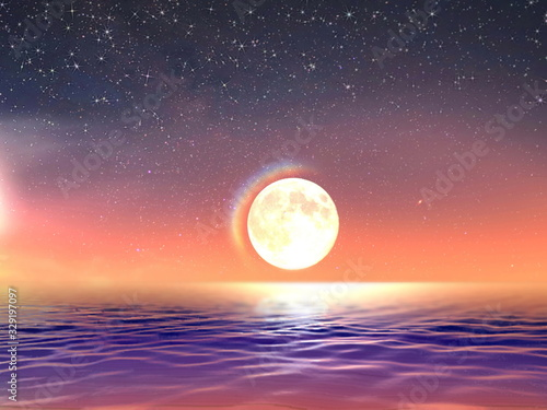 starry sky, full moon stars sunset at sea blue,gold  colorful summer night seascape  night light reflection  on ocean  water