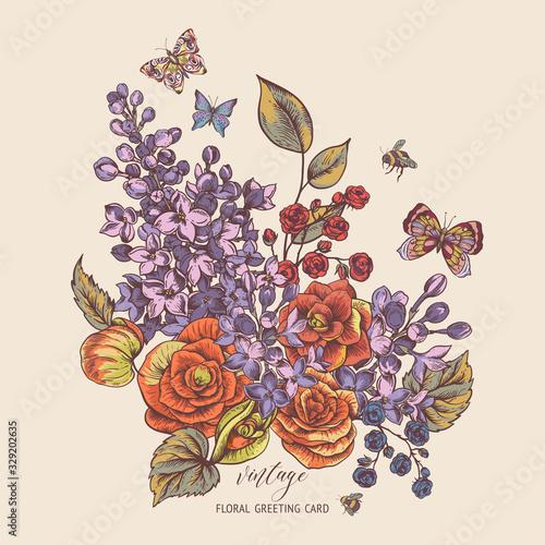 Leinwandbilder - Vector vintage spring greeting card with blooming flowers of begonia, lilac