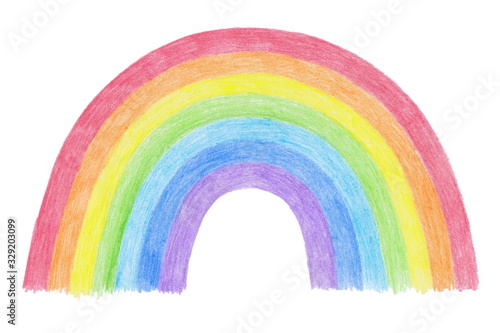 Photo Hand-drawn rainbow isolated on a white background