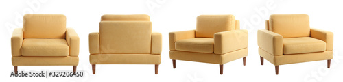 Collage with modern comfortable armchair on white background Wallpaper Mural