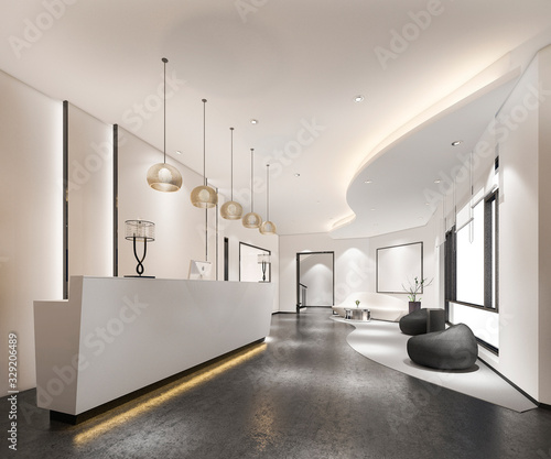 Fototapeta 3d rendering modern luxury hotel and office reception and lounge obraz