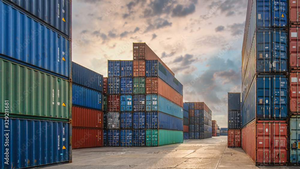 Fototapeta perspective view of containers at containers yard with forklift and truck