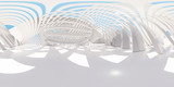 Fototapeta Perspektywa 3d - Colorful 360 degree abstract panoramic background: geometric white ring.  ( Car backplate, 3D rendering computer digitally generated illustration.)