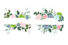 Flower  Frame Templates. Vector Background. Mockup For Social Media Banner.   Abstract Collage Layout Design