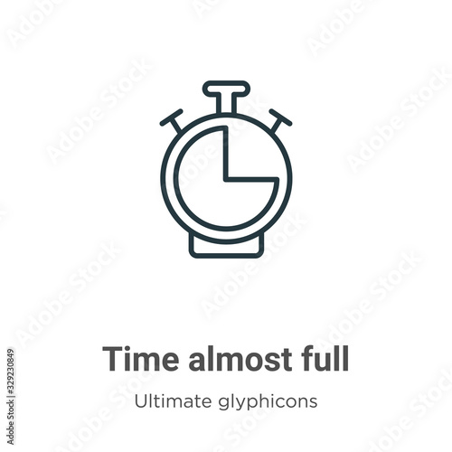 Vászonkép Time almost full outline vector icon