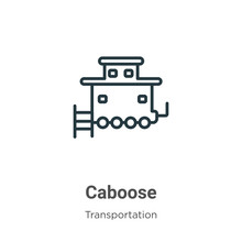 Caboose Outline Vector Icon. T...