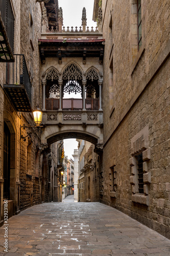 Pont del Bisbe at Dawn - A vertical morning view of a neo-Gothic style stone bridge,