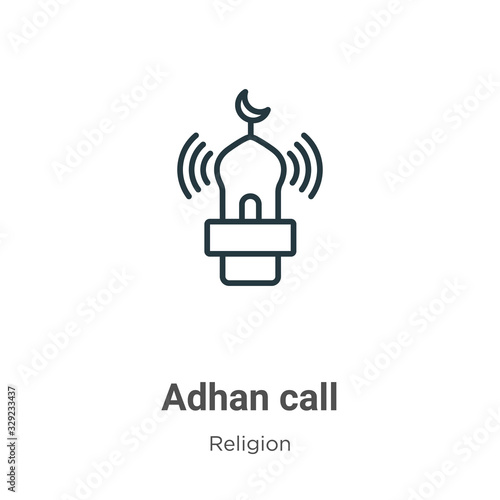 Adhan call outline vector icon Canvas Print