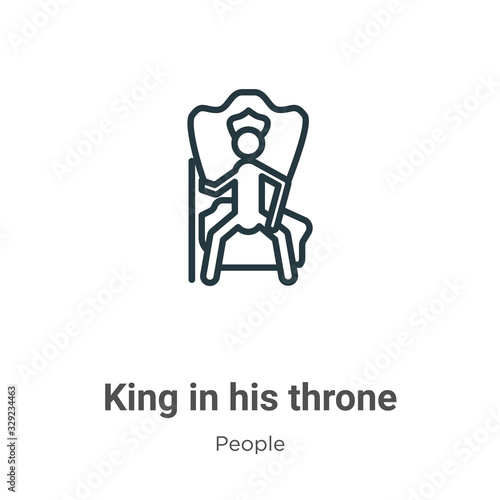 King in his throne outline vector icon Wallpaper Mural