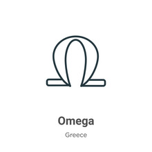 Omega Outline Vector Icon. Thin Line Black Omega Icon, Flat Vector Simple Element Illustration From Editable Greece Concept Isolated Stroke On White Background