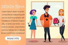 Team Creative Designers In Bright Clothes. Advertising Image. Design Studio. Graphic Developers. Vector Illustration. Collaboration Designers. Girl With Microphone In Hand. Man With Headphones.
