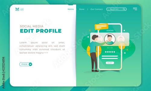 Fotografie, Obraz People change avatar for social media profile on landing page template