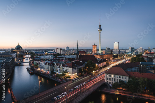 Landscape of Berlin city skyline, aerial view of the Berlin television tower at Wallpaper Mural
