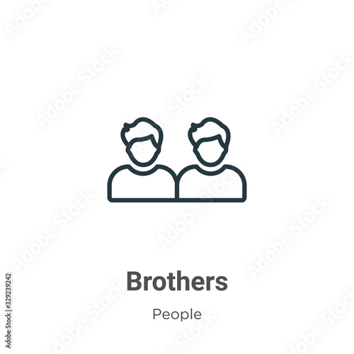 Obraz na plátne Brothers outline vector icon
