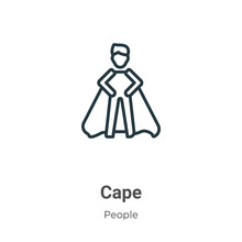 Cape Outline Vector Icon. Thin...