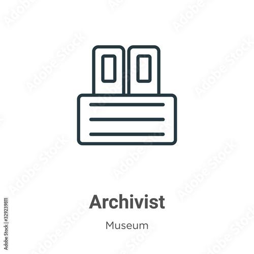 Archivist outline vector icon Wallpaper Mural