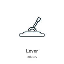 Lever Outline Vector Icon. Thin Line Black Lever Icon, Flat Vector Simple Element Illustration From Editable Industry Concept Isolated Stroke On White Background
