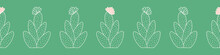 Cactus Outline Seamless Banner Background. Cute Vector Border Pattern Design Of Flowering Desert Plant In Green And Pink.