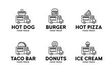 Street Food Truck Logo Set