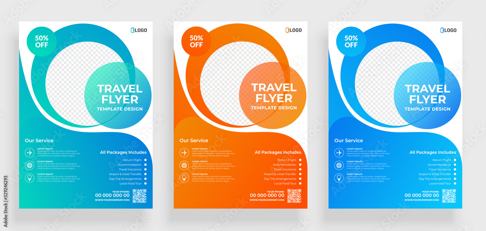 Fototapeta Travel flyer template design with contact and venue details.