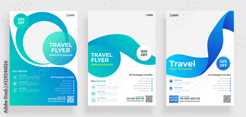 Obraz Travel flyer template design with contact and venue details. - fototapety do salonu
