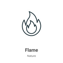 Flame Outline Vector Icon. Thi...