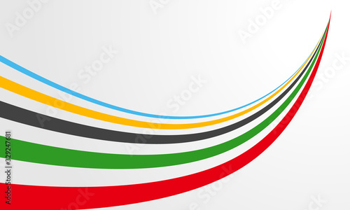 Fotografía オリンピックカラーの勢いあるリボン