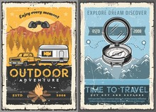 Travel, Tourism, Trailer Home Retro Posters. Vector Rv Camping House, Motorhome Caravan And Suv Pickup Car Riding On Mountain Landscape, Vintage Cards With Compass, Route Track, Traveling Vehicle