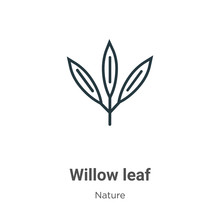 Willow Leaf Outline Vector Ico...