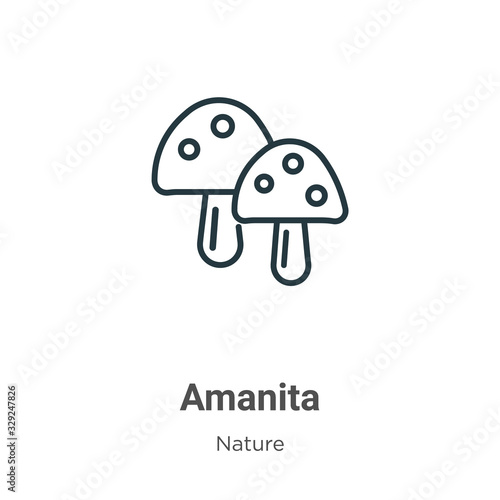 Amanita outline vector icon Wallpaper Mural