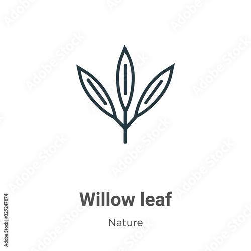 Tablou Canvas Willow leaf outline vector icon
