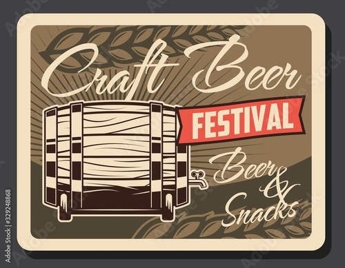 Oktoberfest craft beer retro poster, festival party vintage card with wooden barrel and wheat ears Canvas Print