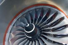 Aircraft Engine Vane Turbine Blades Close Up View.