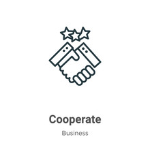 Cooperate Outline Vector Icon. Thin Line Black Cooperate Icon, Flat Vector Simple Element Illustration From Editable Business Concept Isolated Stroke On White Background