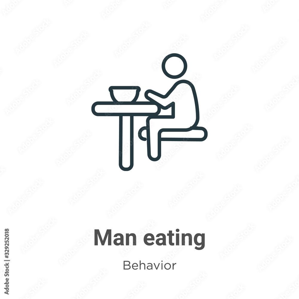 Fototapeta Man eating outline vector icon. Thin line black man eating icon, flat vector simple element illustration from editable behavior concept isolated stroke on white background