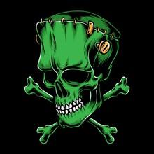 Green Frankenstein Skull Vector Logo