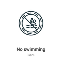 No Swimming Outline Vector Ico...