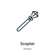 Scepter Outline Vector Icon. Thin Line Black Scepter Icon, Flat Vector Simple Element Illustration From Editable Shapes And Symbols Concept Isolated Stroke On White Background