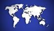 3D illustration world map on a blue background.