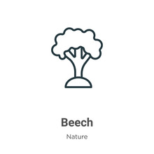 Beech Outline Vector Icon. Thin Line Black Beech Icon, Flat Vector Simple Element Illustration From Editable Nature Concept Isolated Stroke On White Background