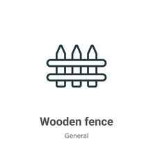 Wooden Fence Outline Vector Ic...
