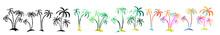 Set Multi-colored Palm Trees. ...