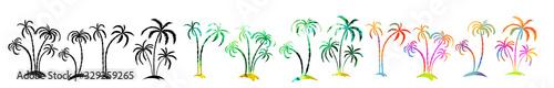 Obraz Set Multi-colored palm trees. Hello summer. mixed media. Vector illustration - fototapety do salonu