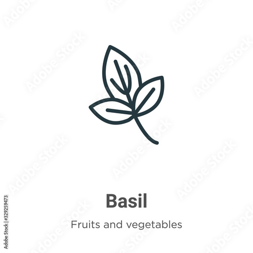 Fotografiet Basil outline vector icon