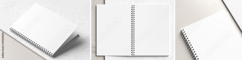 Fototapeta A4 format spiral binding notebook mock up on white marble background. Realistic notebook mock up rendered with three different angles. 3D illustration.