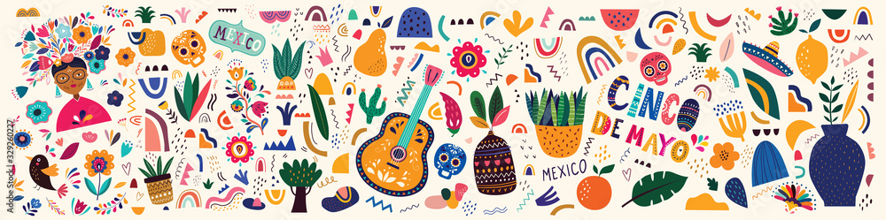 Fototapeta Mexico illustration. Mexican pattern. Vector illustration with design  for Mexican holiday 5 may Cinco De Mayo. Vector template with Mexican symbols: Mexican guitar, flowers, red pepper, skull